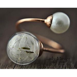 BESTSELLER – Origineller Pusteblumen-Ring mit Perle in Roségold – verstellbar