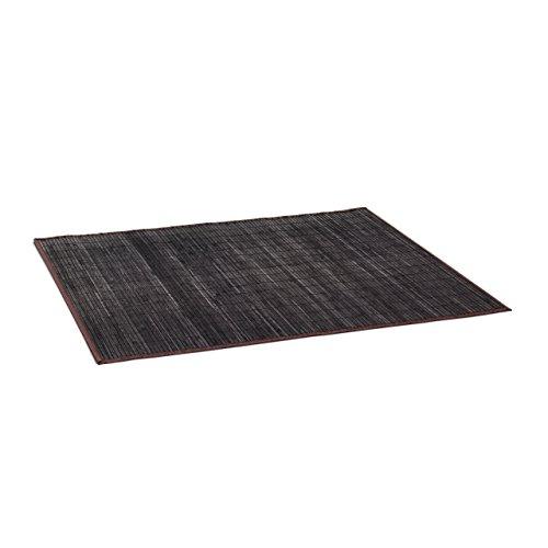 Relaxdays Badvorleger Bambus BxT: 100x80 cm Badeteppich aus Holz mit rutschhemmender Unterseite praktischer Duschvorleger aus natürlichem Bambus, Stoff in verschiedenen Farben fürs Bad, schwarz-braun