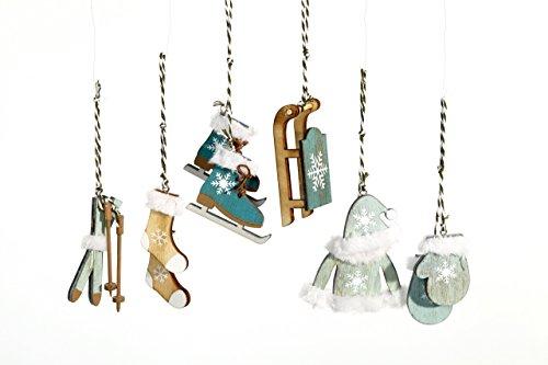 Heitmann DECO 91013 Décorations de Noël en Bois à Suspendre Turquoise/Blanc/Naturel 14,2 x 11,5 x 2 cm