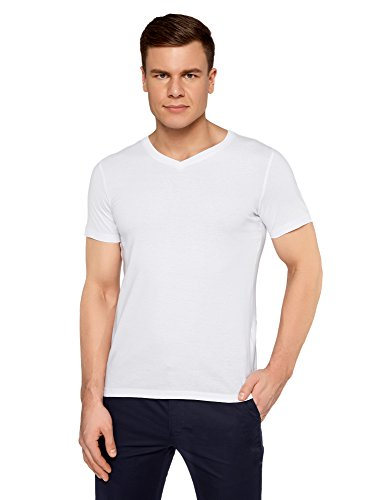 oodji Ultra Herren Tagless T-Shirt Basic mit V-Ausschnitt Weiß (1000N)
