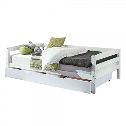 Kinderbett Nora mit Bettkasten 90 x 200cm Buche massiv Weiß lackiert Sofabett Einzelbett Kinderzimmer Jugendbett Sofabett