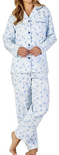 Slenderella Ladies Luxus Kleine Blaue Blume Drucken 160gsm 100% weiche gebürstete Flanell-Baumwolle-Taste bis Lange Ärmel Pyjamas groß -
