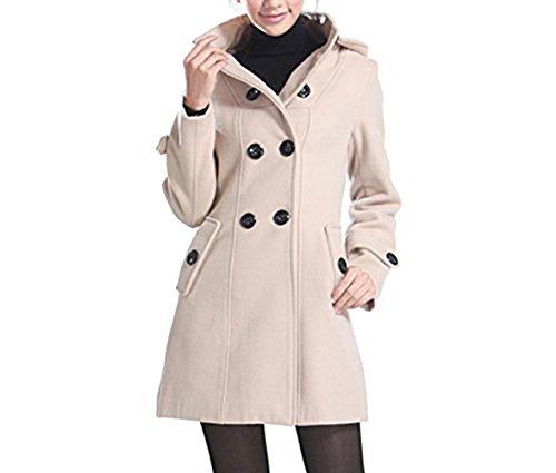 SMITHROAD Damen Herbst Winter Zweireiher Mantel Jacke Reverskragen mit Kapuze mit Gürtel Mittel Lang Elegant (EU40/42 (Herstellergröße:2XL), Style 4)