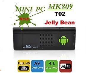T02 MK809 Mini scatola del dongle del PC TV del Android 4.1 Cortex A9 Dual Core 1.6GHZ 1GB DDR di memoria 4GB
