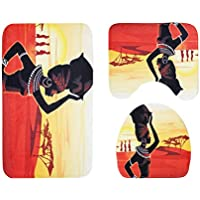 OUNONA 3Piezas Alfombrilla para bañera (Baños Alfombrilla contornos Karoline–Alfombrilla de Pedestal de Alfombra Anti de bacterias para Cocina presupuesto Wohnen ( Desierto Mujer )