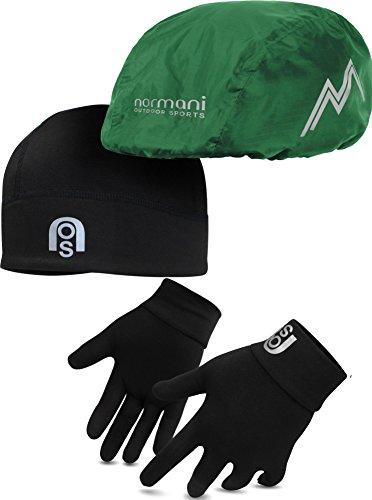 wasserdichtes Fahrradhelmcover, wärmende Unterziehmütze und Handschuhe mit Reflektoren Farbe Oliv