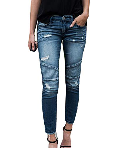 Moceal Jeans Damen Jeanshosen Röhrenjeans Skinny Slim Fit Stretch Stylische Boyfriend Jeans Zerrissene Destroyed Jeans Hose mit Löchern Lässig (M, 16823Blau1) Destroyed Boyfriend-jeans