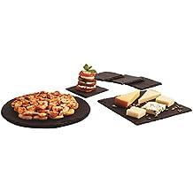 Quid Gastro Fun - Set de 6 platos pizarra, 1 redonda de 25 cm,