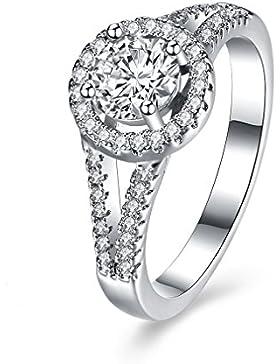 YAZILIND 925 Sterling Silber Double-line Runde eingelegten Zirkonia Ring für Frauen Mädchen