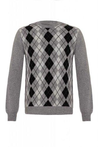 Mens Pure Cashmere Argyle-Maglione a girocollo grigio XL