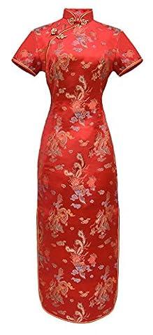 Robe chinoise Qipao longue de soirée rouge motif dragon col
