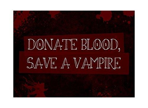 """A Vampire"""" Druck, Bild mit Blutspritzern, Spaß, gruselig, Humor, Halloween, saisonale Dekoration, Aluminiumschild (Halloween Spaß Dekorationen)"""