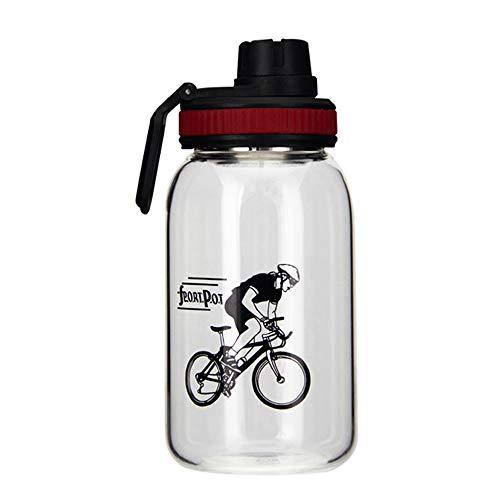 Glas Getränkeflaschen (XUMENG Glaswasserflasche Tragbare, Wiederverwendbare Auslaufsichere Sportflaschen Mit Verbrühungsschutz Und Griff Sportschale Mit Teefilter Getränkeflasche Mit Großem Fassungsvermögen,Red,700ML)