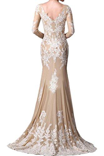 Ivydressing Damen Spitze Applikation V-Ausschnitt Lang Aermel Partykleid Promkleid Festkleid Abendkleid Champagner
