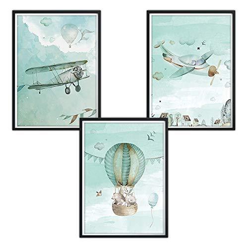 3er-Set DINA4 Poster für Kinderzimmer, Kinderposter, Druck, Wandbilder, Kunstdruck für Bilderrahmen, Baby Poster, Kinder Bilder