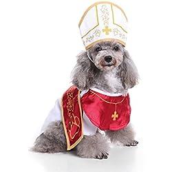 Ropa para perros, mascota perro pequeño Hoodid capa del padrino disfraz de invierno cofre protector moda conjunto siamesa capa con sombrero 4 tamaño (Color : Red, Size : L)