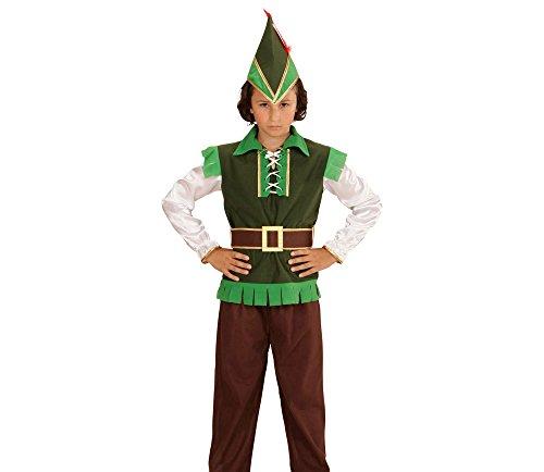 erkostüm Robin Hood, Oberteil, Hose, Hut, Feder und Gürtel, braun, Größe 128 (Robin-hood-hosen)