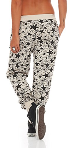 malito Damen Sweathose mit Star Print | Baggy zum Tanzen | Jogginghose mit Knopfleiste | Sweatpants