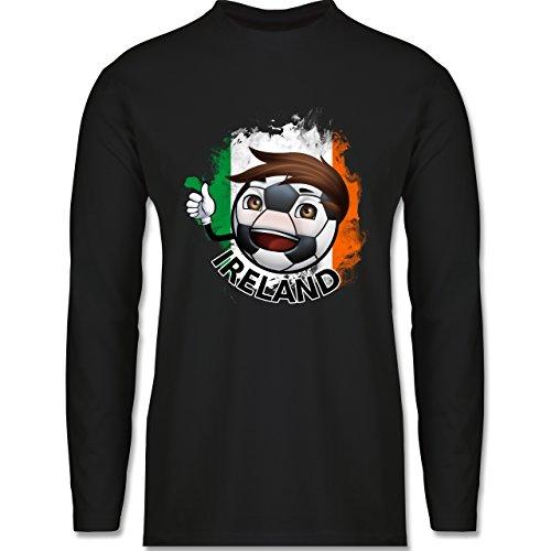 Shirtracer Fußball - Fußballjunge Irland - Herren Langarmshirt Schwarz