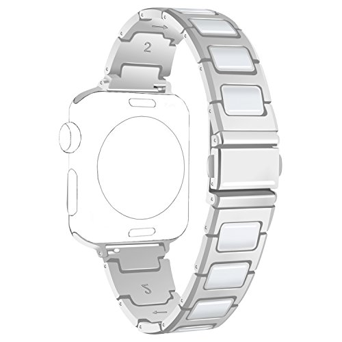 ECSEM for Apple Watch Bands Replacement Metal Stainless Steel with Ceramic Wristbands Watch Straps for Apple Watch Smartwatch Series 1 Series 2 (42mm Silver with White) (Stainless Steel Watch Band, White)