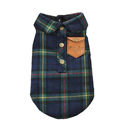 zoonpark® Hund Kleidung, England Plaid Double Layer Flanell Hemd Herbst Winter Hund Kleidung für kleine oder Mittelgroße Hunde Haustier Kleidung Chihuahua Yorkshire Pudel -