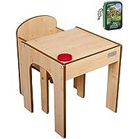 Preisvergleich für Little Helper FunStation Kleinkind Tisch und Stuhl Set mit Stiftehalter, 24m+, natur/rot mit Disney The Good Dinosaur Mäppchen