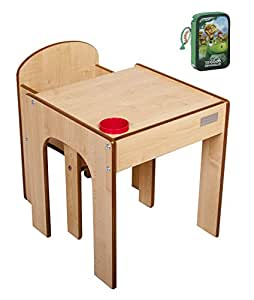 little helper funstation kleinkind tisch und stuhl set mit stiftehalter 24m natur rot mit. Black Bedroom Furniture Sets. Home Design Ideas