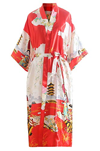 YAOMEI Novia Mujer Vestido Kimono Satén, Camisón para Mujer, Sedoso Flores de Geisha Robe Albornoz...