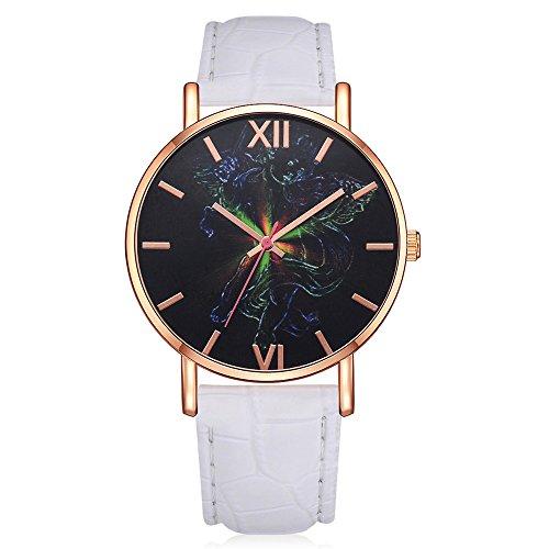 PLOT Damen Quarzuhr Mit Lederband | Modisch Damen Klassisch | Armbanduhren Für Frauen | Geschenke Für Frauen | Einstellbar Uhrenband | Quarzwerk | Dekoration | Gehäusedurchmesser 41mm (One Size, AA)