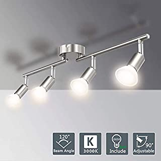 Matte Nickel Kitchen Ceiling Lights.LED Ceiling Spotlights for Kitchen (Warm White). Eye-Care Ceiling Spot Lights with Bar for Bedroom, Rotatable. (4 x 3 W GU10 Bulbs Included) [Energy Class A++]