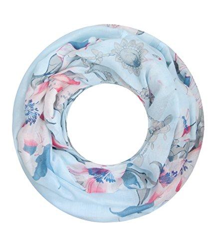 Majea super weicher Damen Loop Schal viele Farben Muster Schlauchschal Halstuch in aktuellen Trendfarben (hellblau 26)