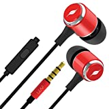 Leaf Metal Wired Earphones with Mic and in-Line Remote (Ferrari Red)
