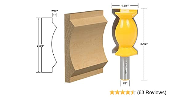 Yonico 16152 2-3//8-Inch Crown Molding Router Bit 1//2-Inch Shank