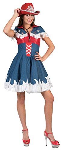 (Karneval Klamotten Cowgirl Kostüm Damen Cowboy Jeans rot blau Western-Kostüm Rodeo Damen-Kostüm Größe 40/42)