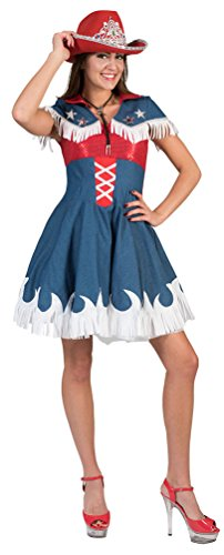 owgirl Kostüm Damen Cowboy Jeans rot blau Western-Kostüm Rodeo Damen-Kostüm Größe 36/38 ()