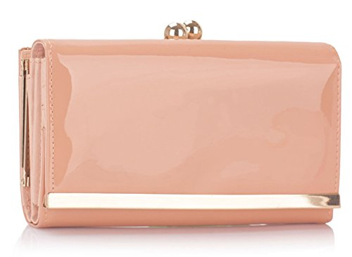 - 414vGfumiCL - Ladies Women's Kiss Lock Long Clutch Quality Fashion Designer Patent Purse Wallet Coin Bag CWP1050 CWP1068 CWP1501-PB (CWP1050-Nude)