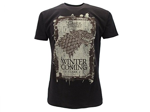 T-shirt originale games of thrones house stark nera winter is coming trono di spade con cartellino ed etichetta di originalità maglia maglietta (xl adulto)