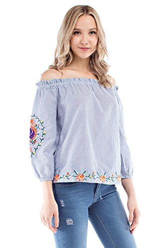 Solitaire Striped Embroidery Off-Shoulder (Small) Jersey Knit Halter Top