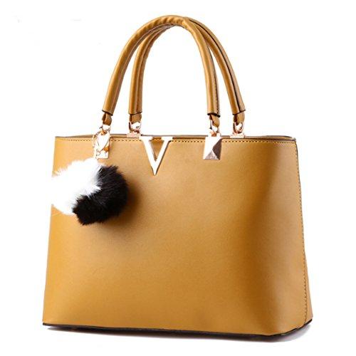 Sacchetto trasversale della traversa della borsa del cuoio del faux delle signore calde delle donne Giallo
