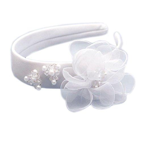 Haarband für Kinder Haarreif Kommunion Haarschmuck weiß mit Blume und Perlen breit OW-01
