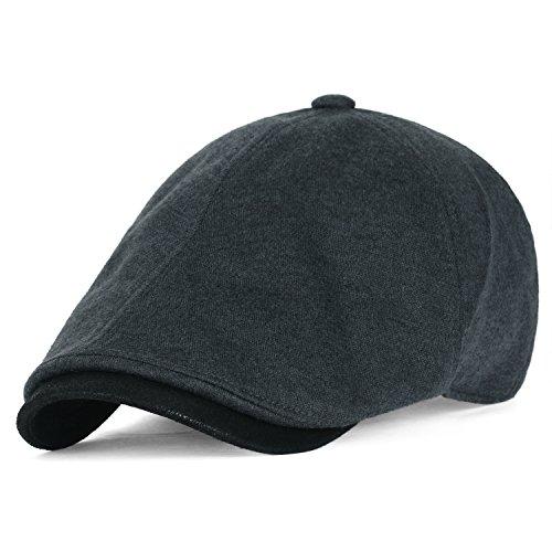 olle Jersey Breites und Ausmaß Schieber Hut Klassischer Stil Golfermütze Flach Golf Cap, Charcoal (Paperboy Hut Für Männer)