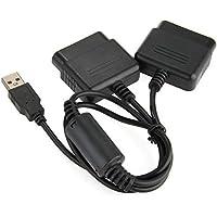 NaiCasy Doppel-Adapter-Konverter-Kabel für PS1, PS2 und PS3 Controller USB Schwarz, Computer-Zubehör