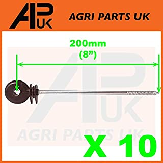 APUK 10 x Long Distance Ring Screw Insulators Electric Fence Poly wire Rope Offset