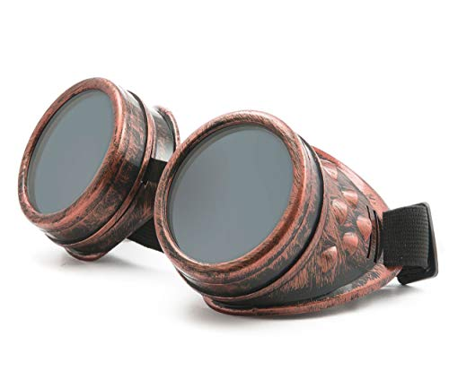 WELDING CYBER GOGGLES Schutzbrille Schweißen Goth cosplay STEAMPUNK COSPLAY GOTH ANTIQUE VICTORIAN WITH SPIKES Includes FREE set Lense Shades UV400 Protection Morefaz(TM) (Copper)