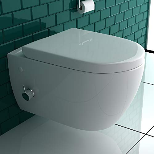 Alpenberger Spülrandlos-Dusch WC mit seitlich eingebauter Einhebelarmatur inkl. Kalt-Warm Wasser Anschluss | Quick-Release D-Form WC-Sitz mit Absenkautomatik + Anschluss-Schläuche für die Düse