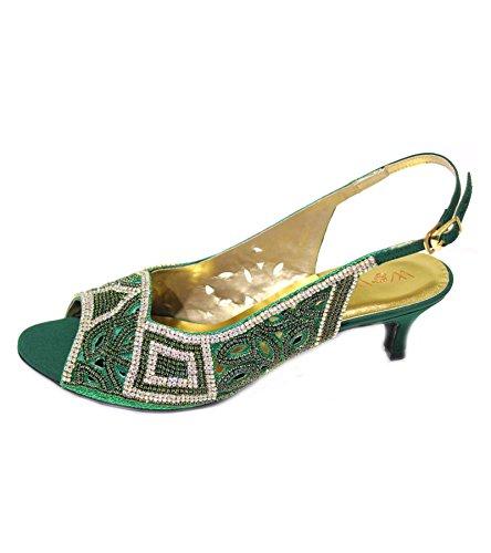B & W, Damen Halbschuhe, Party Slipper Pumps Schuhe, Sandale, Peach (stylisch, goldfarben, Lila, Grün, hinterfüttert Grün