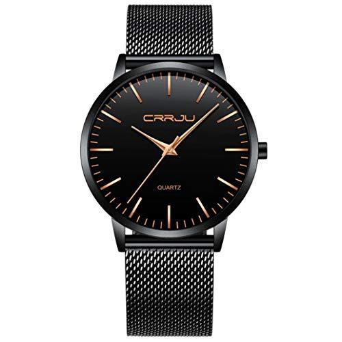 30 Meter imprägniern Super dünne Männer Chenang Business Watch Black Freizeit Armbanduhr Ultradünne Männer Business-Uhr Schwarze Freizeituhr Unisex Herren Uhr Uhren Quarzwerk