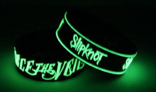 Pierce The Veil Slipknot 2pcs NEU. Glow In The Dark Wristband 2X 95G16