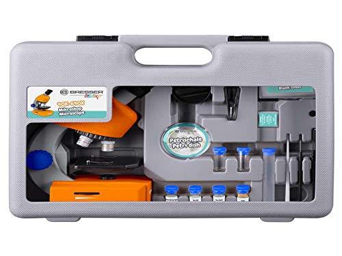 Bresser Junior Mikroskop 40x-640x mit LED-Durchlichtbeleuchtung mit Batteriebetrieb und umfangreichen Zubehörpaket für Kinder und Einsteiger, orange
