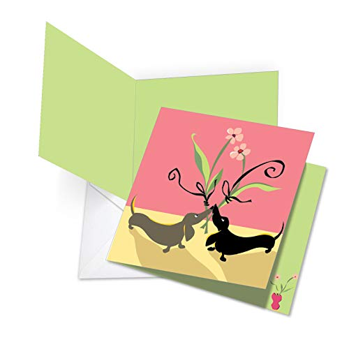 square-top Funny Valentine 's Day Grußkarte: Dackel Liebe, mit Umschlag (für große: 21x 24,8cm) ()